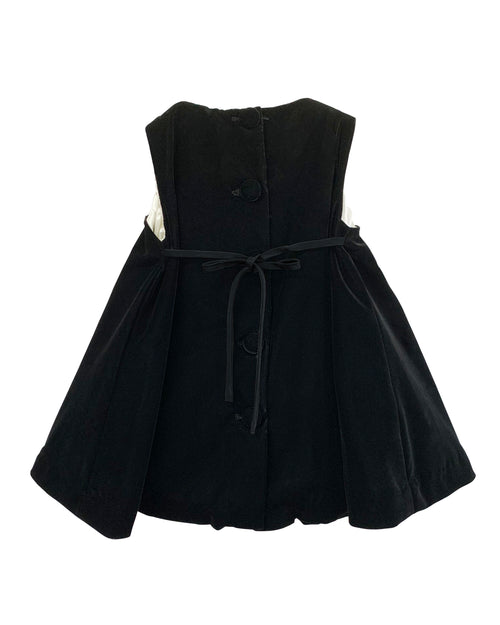 Helena and Harry Girl's Black Velvet and Taffeta Bow Front Dress
