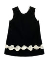 Helena and Harry Girl's Black Velvet with Ivory Bows Dress