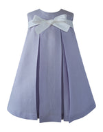 Helena and Harry Girl's Lavender Linen Bow Front Dress