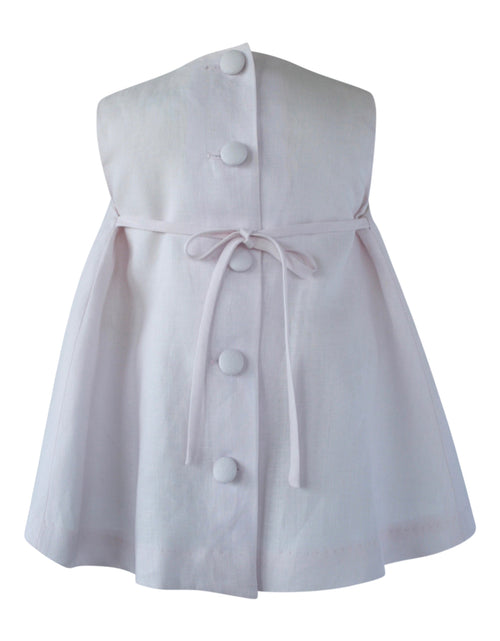 Helena and Harry Girl's Light Pink Linen Bow Front Dress
