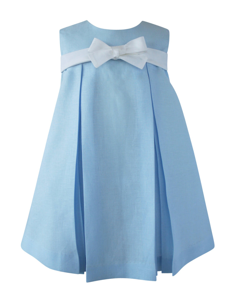 Helena and Harry Girl's Blue Linen Bow Front Dress