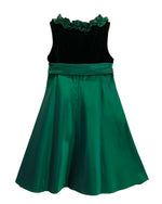 Helena and Harry Girl's Emerald Green Taffeta and Velvet Dress