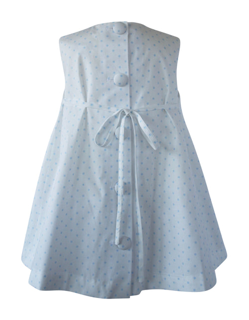 Helena and Harry Girl's Blue Baby Dot Bow Front Dress