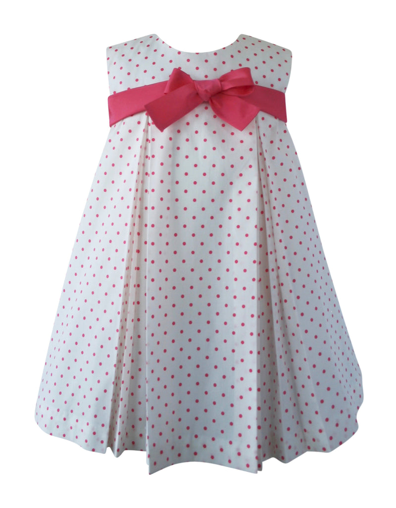 Helena and Harry Girl's Coral Baby Dots Bow Front Dress