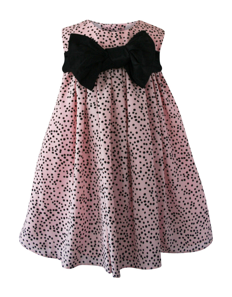 Helena and Harry Girl's Pink Dress with Black Dots and Front Bow