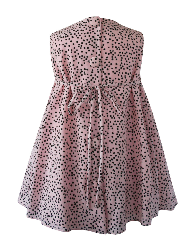Helena and Harry Girl's Pink with Black Dots Bow Front Dress