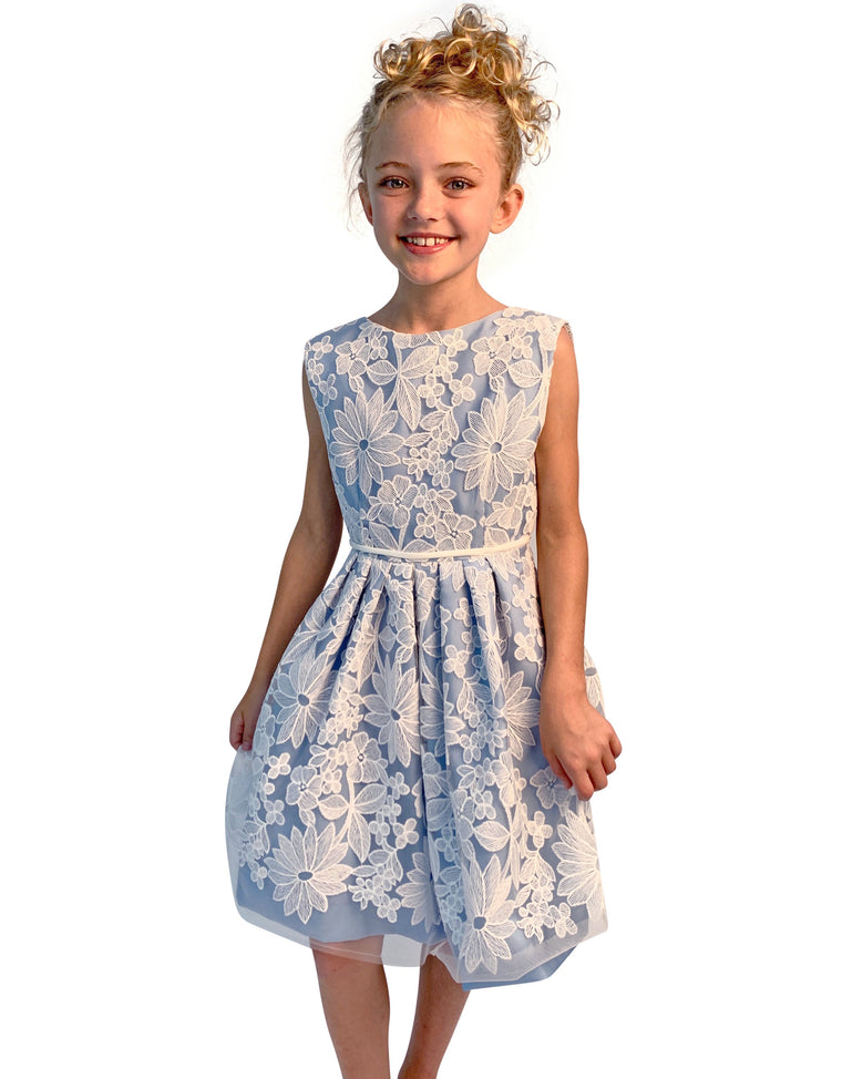 Helena and Harry Girl's Blue Dress with Ivory Lace Overlay