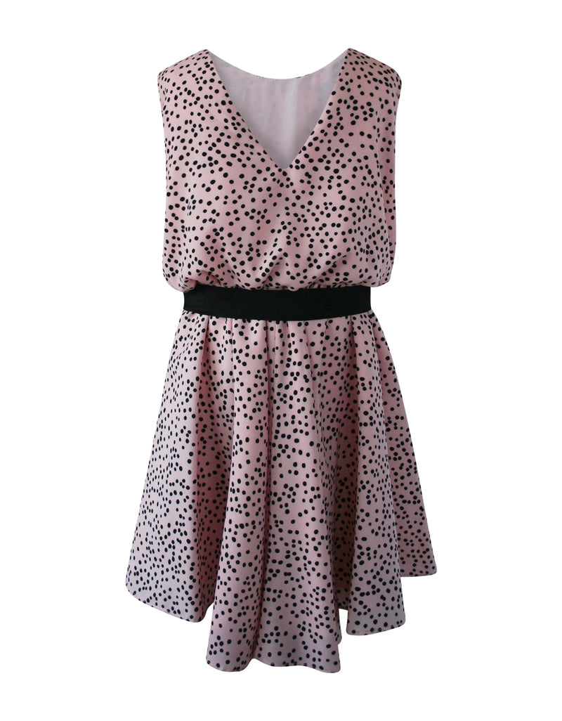 Helena and Harry Girl's Pink with Black Dots Dress