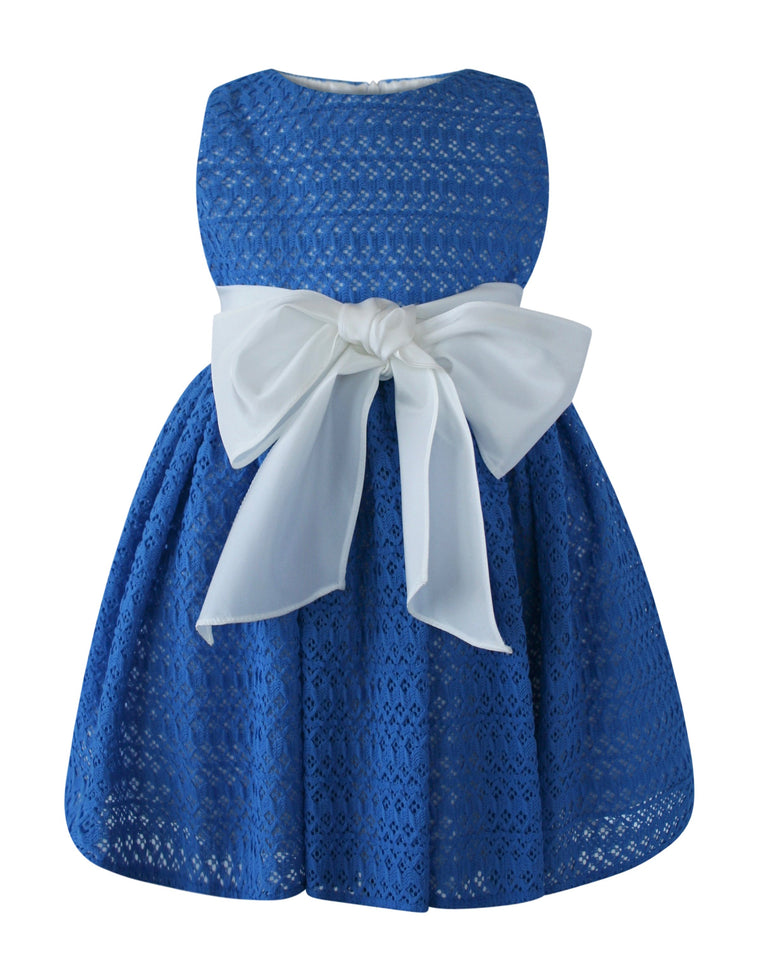 Helena and Harry Girl's Royal Blue Lace Cupcake Dress