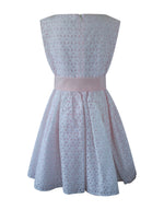 Helena and Harry Girl's White Eyelet & Pink Taffeta Dress