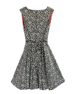 Helena and Harry Girl's Black and Ivory Geometric Jacquard Knit Dress