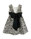 Helena and Harry Girl's Black and Ivory Rose Knit with Black Bow Dress