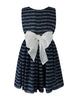 Helena and Harry Girl's Navy with White Stripes Georgette Dress