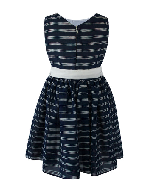 Helena and Harry Girl's Navy Blue with White Stripes Georgette Dress