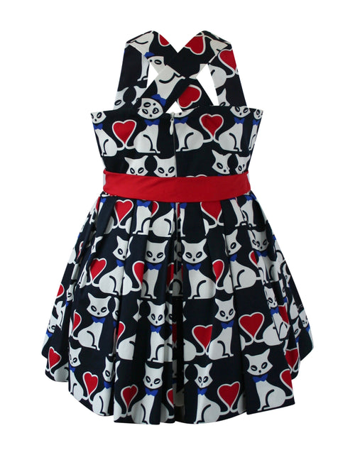 Helena and Harry Girl's Black Kitty Cat Kisses Dress