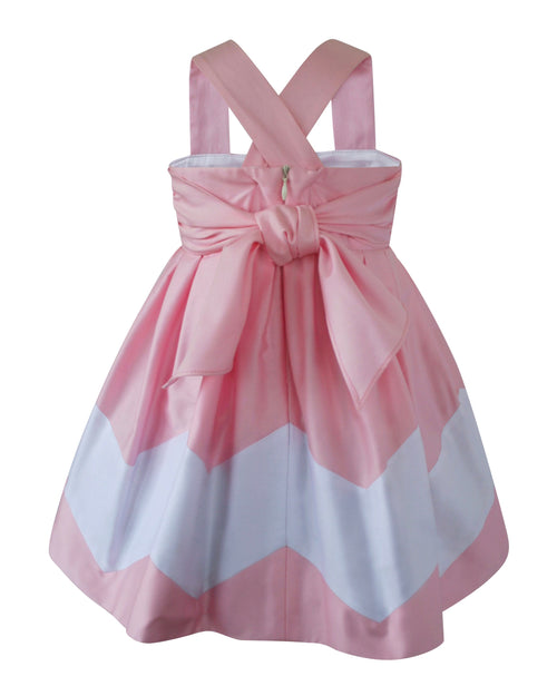 Helena and Harry Girl's Light Pink and White Chevron Dress