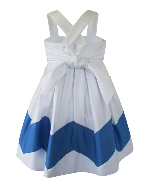 Helena and Harry Girl's White and Blue Chevron Sundress
