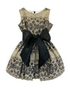 Helena and Harry Girl's Camel Colored Cotton with Black Lace Print Dress