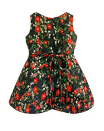Helena and Harry Girl's Red and Green Floral on Black Tapestry Dress