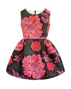 Helena and Harry Girl's Fuchsia and Red Floral on Black Dress