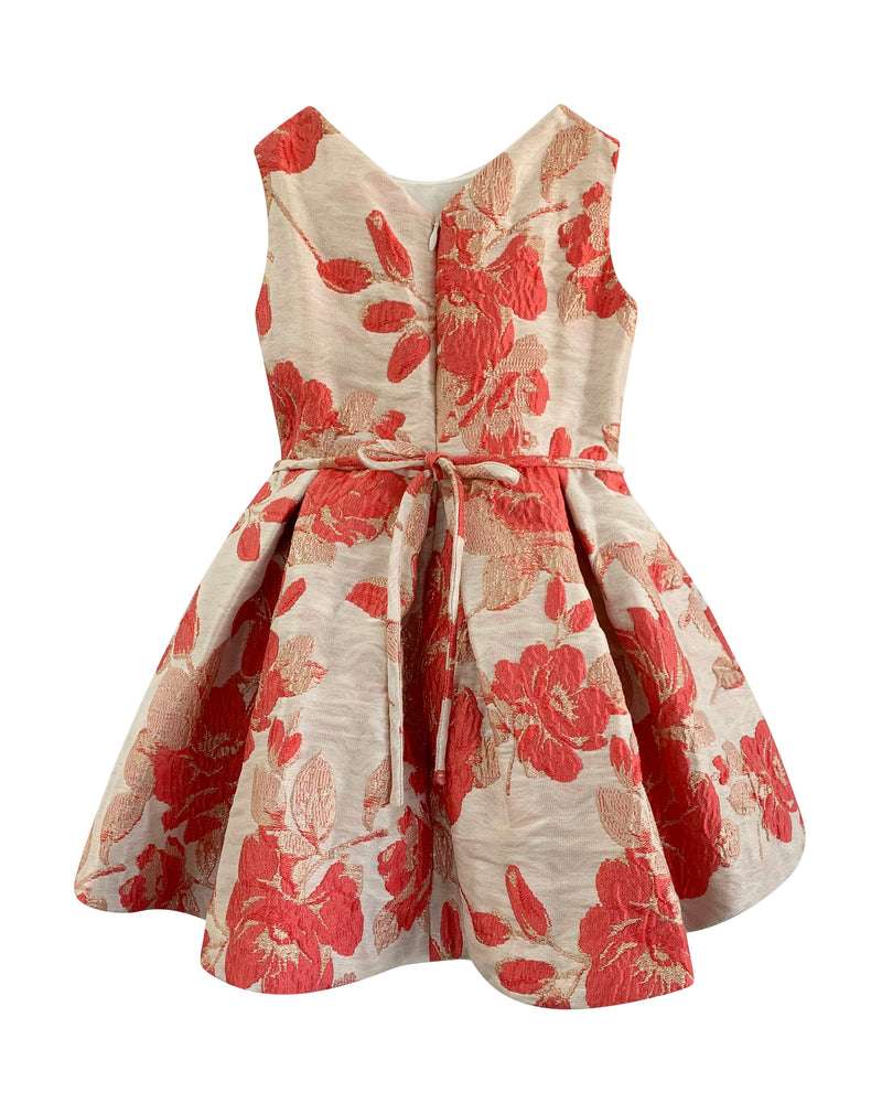 Helena and Harry Girl's Coral and Tan Floral Jacquard on Ivory Dress