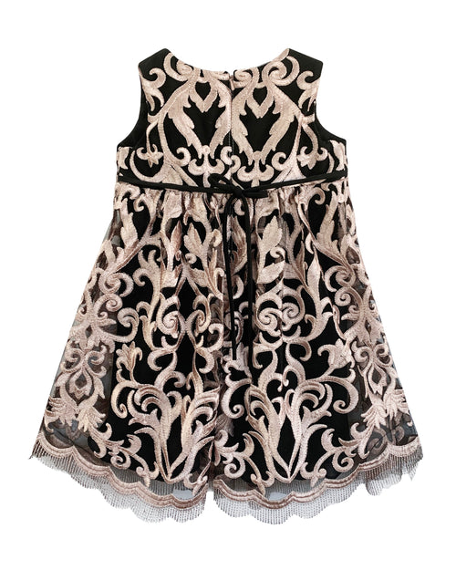 Helena and Harry Girl's Pink Guipure Lace on Black Dress