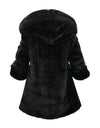 Helena and Harry Girl's Red and Black Hooded Fur-Lined Reversible Coat