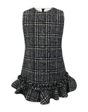 Helena and Harry Girl's Navy and Ivory Plaid Dress with Ruffles