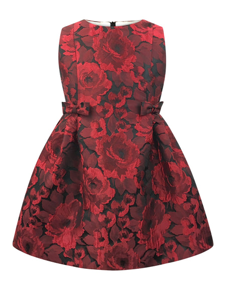 Helena and Harry Girl's Red and Fuchsia Satin Stripe Dress
