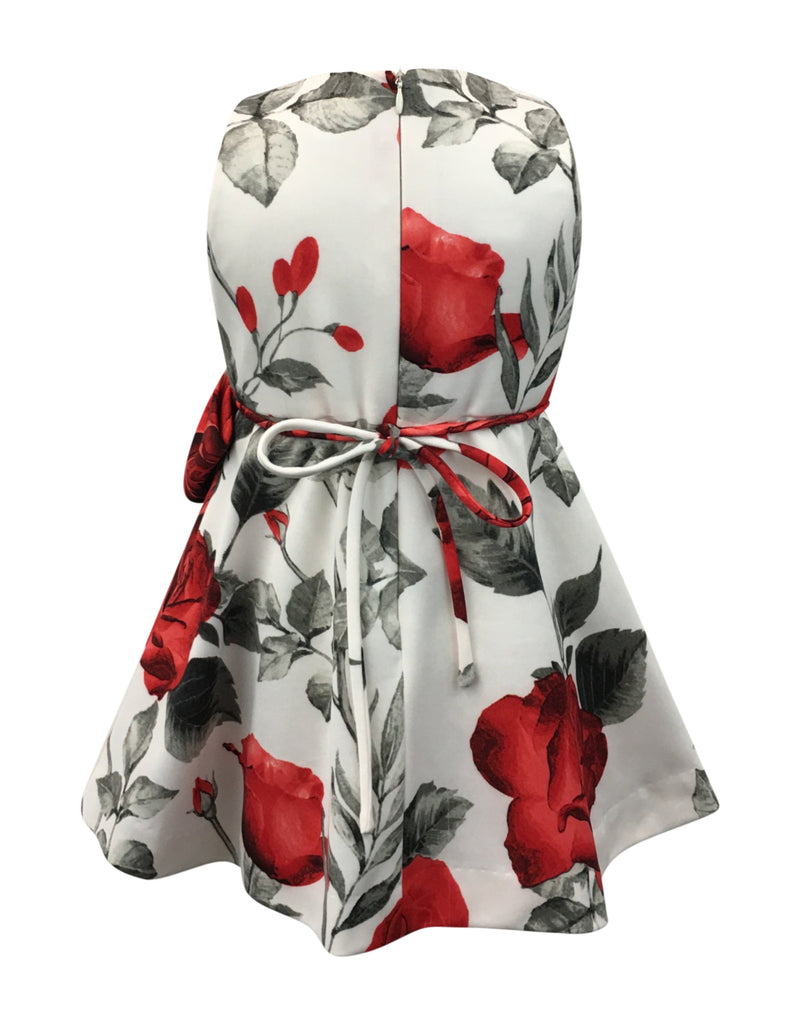 Helena and Harry Girl's Red Roses on Ivory Dress