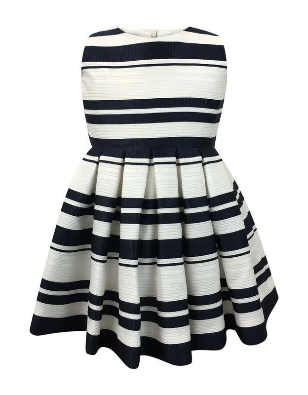 Helena and Harry Girl's Navy and Ivory Horizontal Stripe Dress