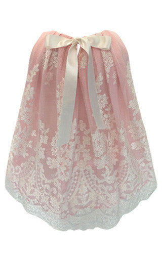 Helena and Harry Girl's Pink Underlay Lace Dress