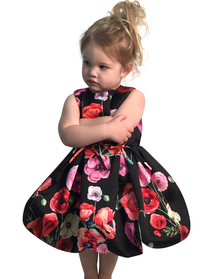 Helena and Harry Girl's Black Velvet Dress