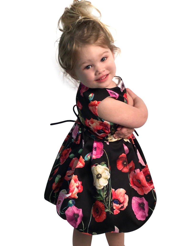 Helena and Harry Girl's Red Printed Taffeta Dress
