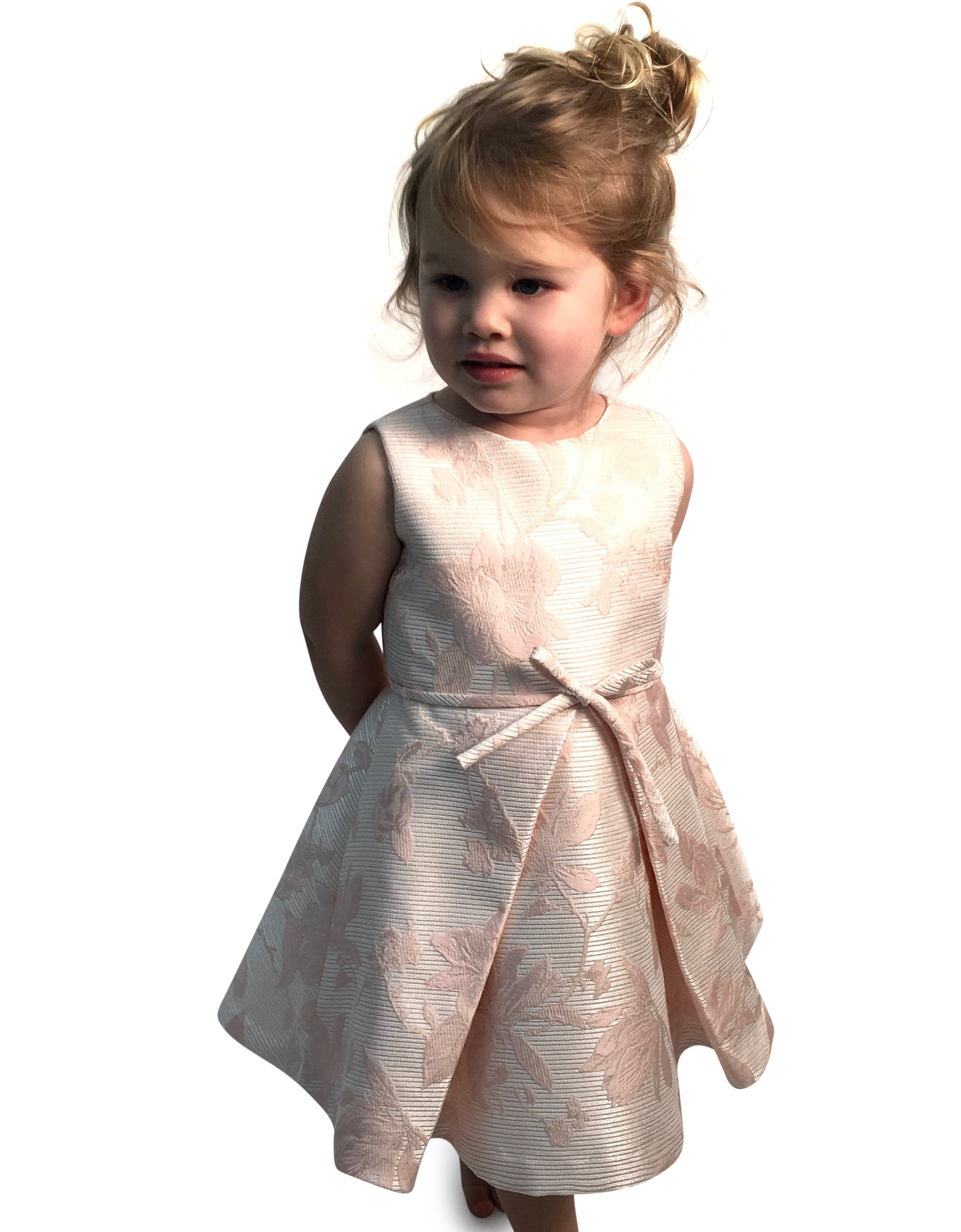 Helena and Harry Girl's Pastel Pink Jacquard Dress