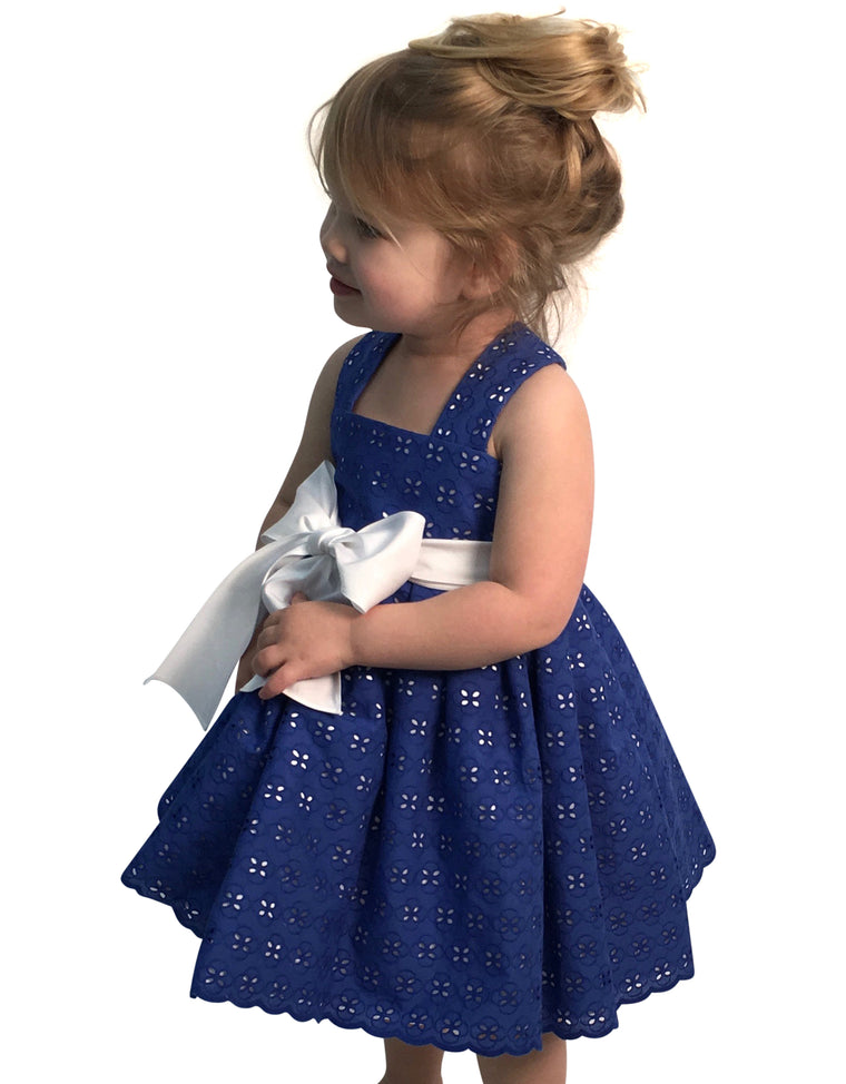 Helena and Harry Girl's Royal Eyelet and White Cotton Sundress