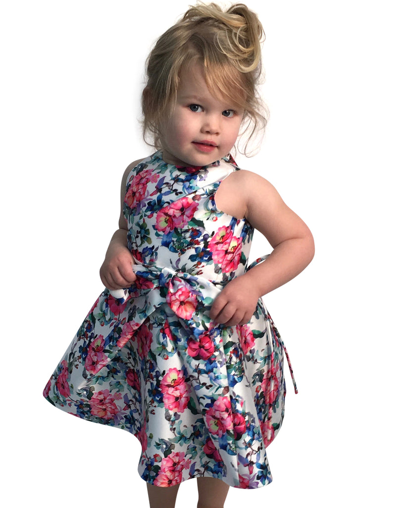 Helena and Harry Girl's Bright Floral Printed Taffeta Dress