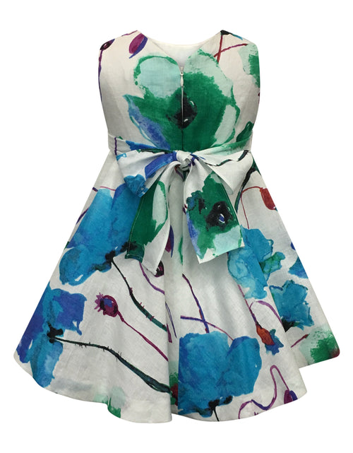 Helena and Harry Girl's Turquoise Floral Linen Dress