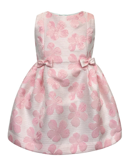 Helena and Harry Girl's Pink Linen Bow Front Dress