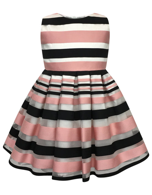 Helena and Harry Girl's Pink and Black Satin Striped Organza Dress