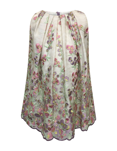 Helena and Harry Girl's Sweet Peas Embroidered on Lace Dress