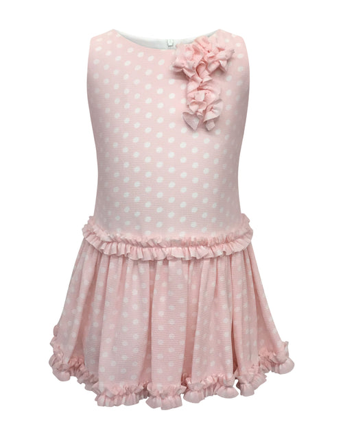 Helena and Harry Girl's Pretty Pink with White Dots and Ruffles Dress