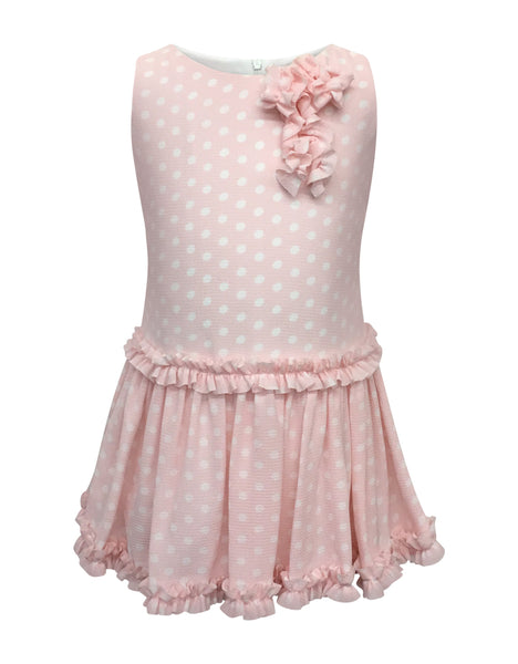 b6f7579cc8829 Helena and Harry Girl s Pretty Pink with White Dots and Ruffles Dress –  HELENA   HARRY IV CO.