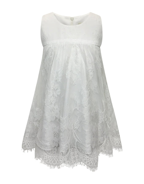 Helena and Harry Girl's White Lace Empire Dress