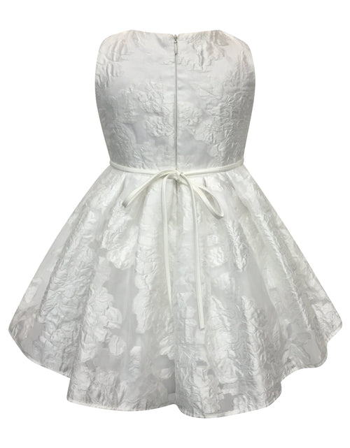 Helena and Harry Girl's White Roses on Organza Dress