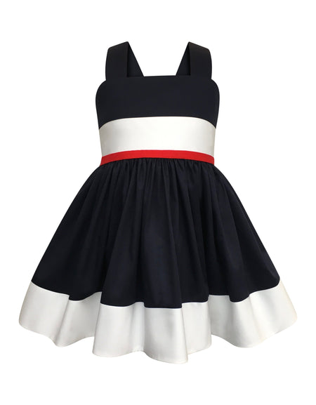 Helena and Harry Girl's Navy Knit Pique Double Ruffle Dress
