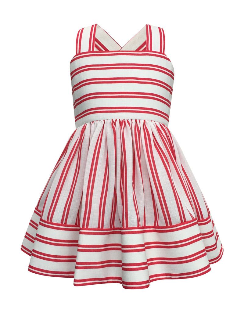 Helena and Harry Girl's Coral and White Striped Sundress