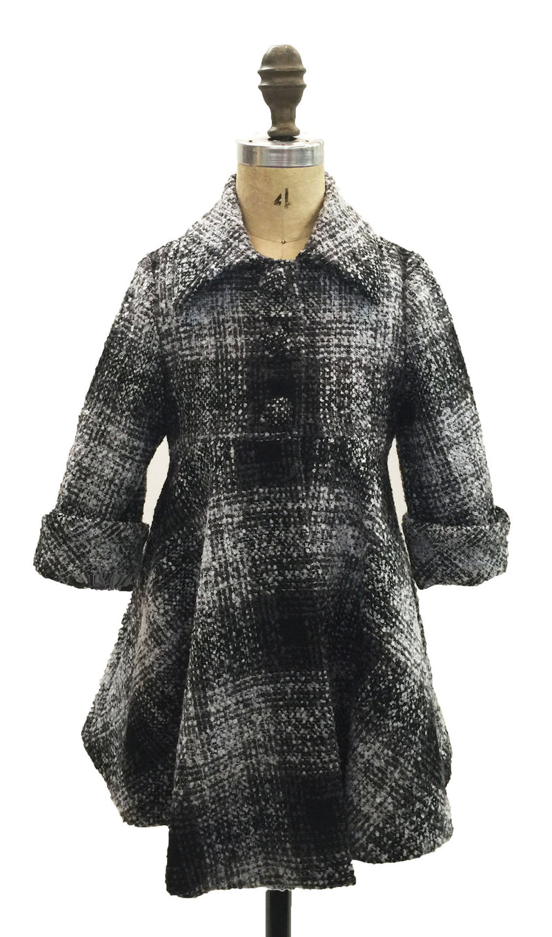 Helena and Harry Girl's Charcoal Plaid Boucle Coat