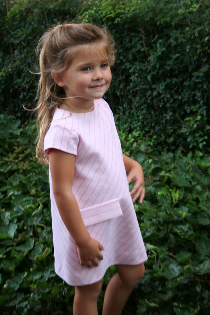 Helena and Harry Girl's Pink with Diagonal Stripes Dress