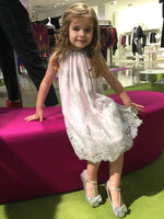 Helena and Harry Girl's Pink and Platinum Lace Dress